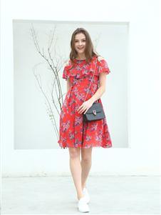 邦莎贝尔红色连衣裙