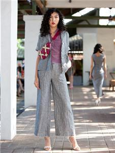 香莎女装2020春夏款灰色套装
