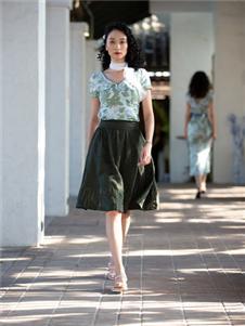 香莎女装2020春夏款绿色半身裙