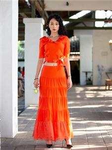 香莎女装2020春夏款橘色 半身裙