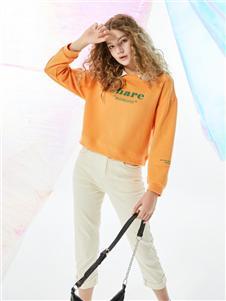 城市衣柜2020春夏装橘色上衣