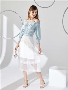 城市衣柜女装城市衣柜2020春夏装白色半身裙