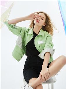 城市衣柜女装城市衣柜2020春夏装绿色外套