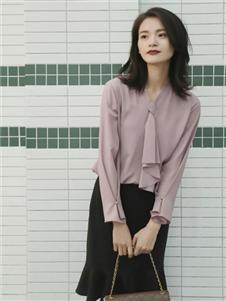卡蔓2020春装藕色衬衫