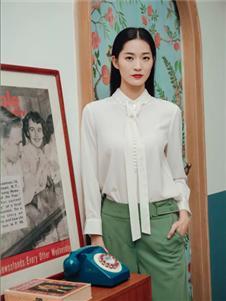 卡蔓2020春装白色衬衫