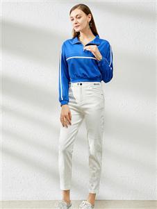 卡尔诺女装卡尔诺2020春装蓝色上衣