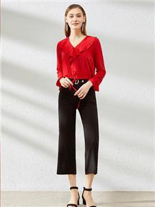 卡尔诺2020春装红色雪纺衫