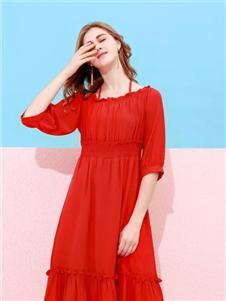 卡尔诺2020春装红色连衣裙