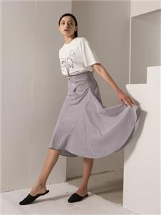 阿莱贝琳2020春装灰色半身裙