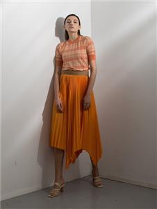 阿莱贝琳2020春装橘色半身裙
