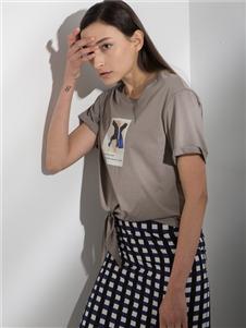 阿莱贝琳2020春装灰色短袖