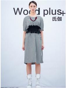 氏伽2020春夏装收腰连衣裙