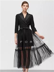 TieForHer2020春款黑色半身裙