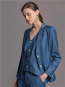TieForHer2020春款蓝色西装三件套