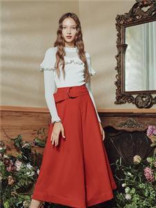 保时霓女装保时霓2020春夏款红色半身裙