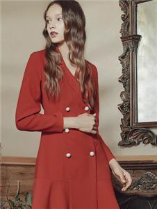 保时霓女装保时霓2020春夏款红色连衣裙