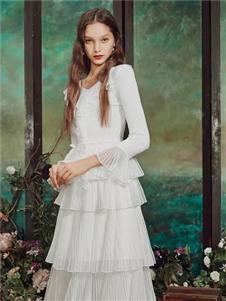 保时霓女装保时霓2020春夏款白色连衣裙