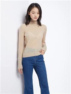 法路易娜女装法路易娜2020春款米色针织上衣