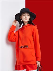 法路易娜女装法路易娜2020春款红色带帽卫衣