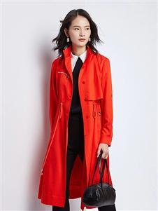 法路易娜女装法路易娜2020春款红色风衣