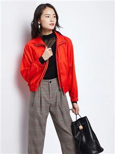 法路易娜女装法路易娜2020春款红色夹克