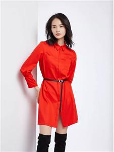 法路易娜女装法路易娜2020春款红色衬衫