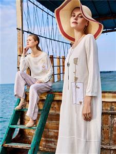 谷度女装白色棉麻连衣裙