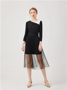 红凯贝尔2020春款黑色半身裙