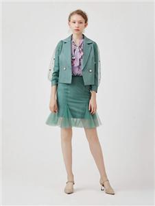 红凯贝尔2020春款绿色半身裙