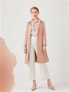 红凯贝尔2020春款粉色风衣
