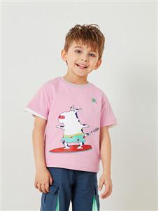 马骑顿童装马骑顿2020春夏装粉色T恤