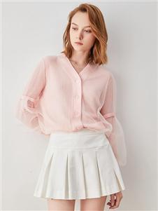iam272020春款粉色上衣 款号380164