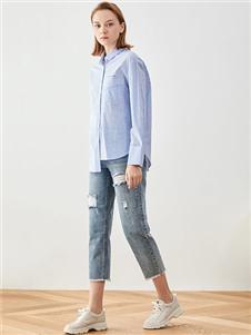 iam272020春款蓝色衬衫 款号380169