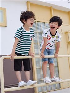 嗒嘀嗒夏男童新款条纹T恤
