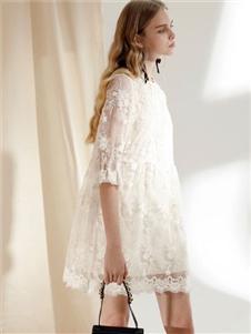 SIEGO西蔻白色连衣裙