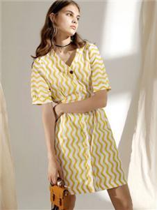 SIEGO西蔻黃色連衣裙