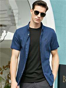 法拉狄奥2020蓝色短袖衬衫