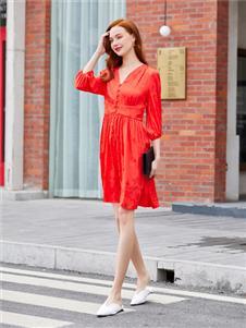音菲梵紅色時尚連衣裙