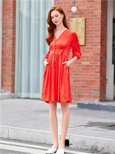音菲梵紅色V領連衣裙