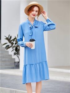 音菲梵藍色韓版連衣裙