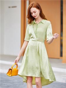 音菲梵淺綠色襯衫裙