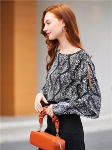 音菲梵女裝新款印花雪紡衫