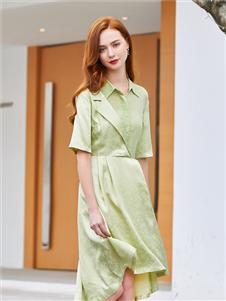 音菲梵女装浅绿色衬衫裙