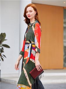 音菲梵新款印花襯衫裙