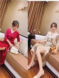 雨珊女装新款V领性感连衣裙