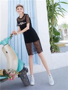 莉雅莉萨LIYALISA黑色直筒裙