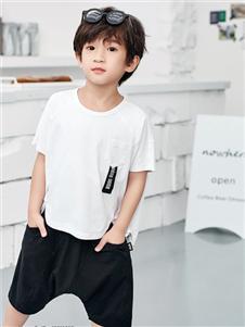 JOJO潮牌童装男童白色T恤
