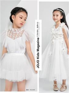 JOJO潮牌女童夏新款白色连衣裙