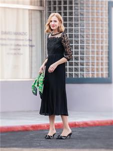 布根香女装黑色蕾丝裙