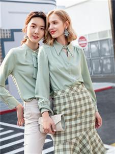 布根香女装浅绿色衬衫
